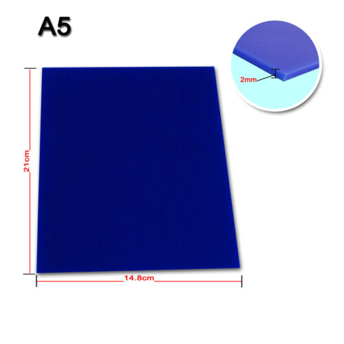 HQ New A5 Blue Plastic Acrylic Sheet 2mm For DIY Design Laser Engraving