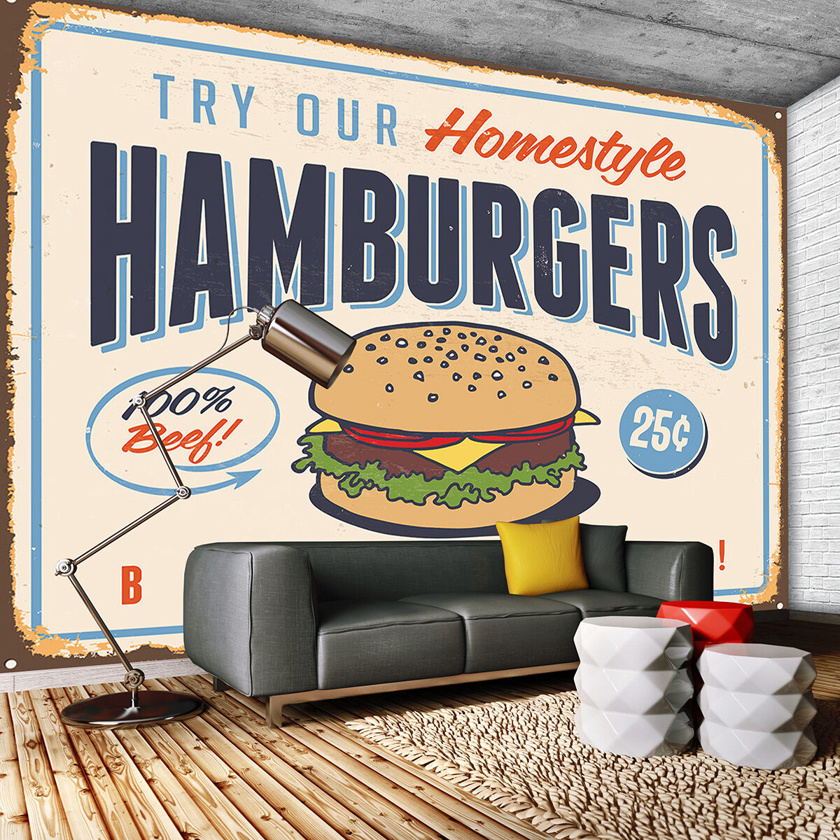 VLIES POSTER WANDBILD  FOTOTAPETE HAMBURGER FAST FOOD ESSEN WAND BILD 3FX3185VE