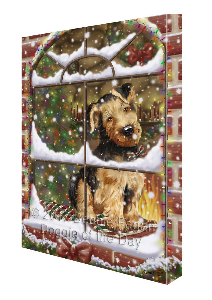 Please Come Home For Christmas Airougeales Dog Sitting In Window Canvas Wall Art