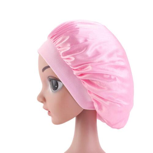 Baby Girl Satin Bonnet Cap Night Sleep Hat Hair Head Cover Elastic Wide Band Hat