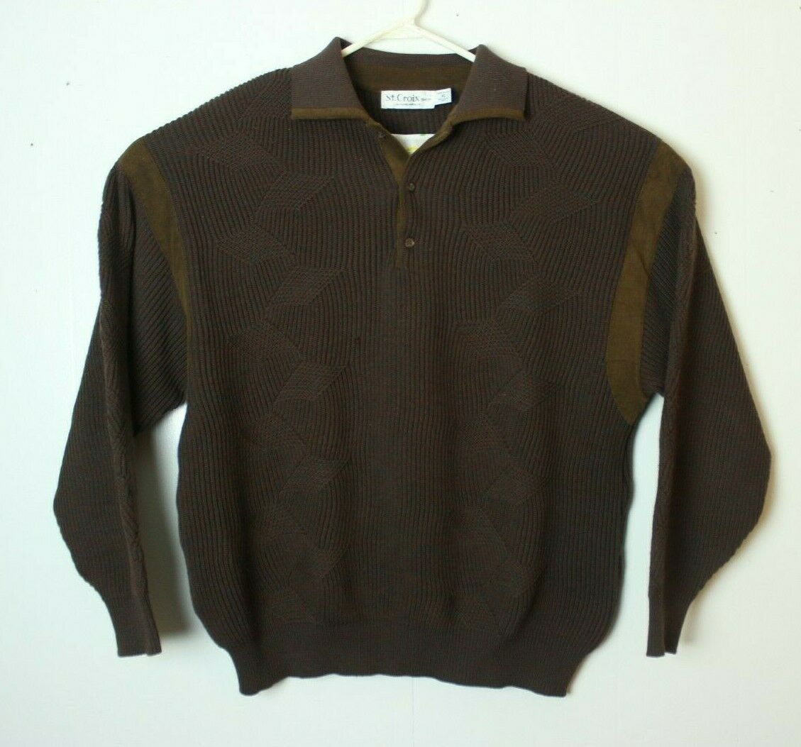 St Croix Shop Men's XL Zephyr Wool Minneapolis Brown Green Polo Sweater