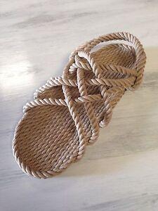 629a481aae5 Women s Size 10 Wide Rope Sandals Beige Men s Size 9 Wide