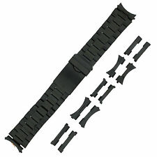 Stainless Steel Metal Bracelet Watch Band Black Plated Fits 20mm-24mm