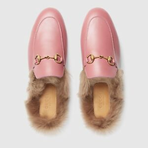919ba4ce3d75 Brand New 100% Authentic Pink Gucci Princetown Leather Mule With Fur ...