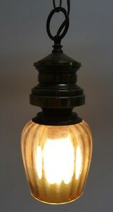 Vintage Brass & Amber Glass Swag Lamp/ Pendant Lamp Retro Mid Century Modern
