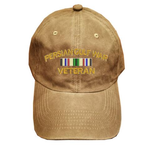 Khaki Washed cotton cap dad hat PERSIAN GULF WAR VETERAN RIBBON