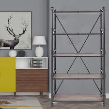Industrial 5 Shelf Bookcase Metal And Wooden Bookshelves Rustic Oak Amp Black