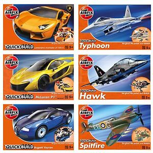 Airfix-Quick-Build-Model-Easy-Kids-Toy-Kits-Veyron-McLaren-Spitfire-Lamborghini