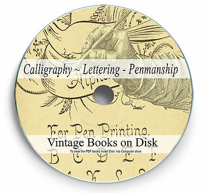 LETTERING MONOGRAMS 76 Vintage books on DVD ALPHABETS Penmanship Sign-writing