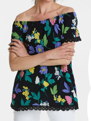 ANTHOLOGY LADIES BLACK FLORAL GYPSY TOP BNWT SIZE 12S ONLY