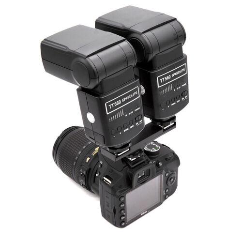 Camera Flash Hot Shoe Mount 2Port Strobe Bracket for Nikon D7000 D850 D7500