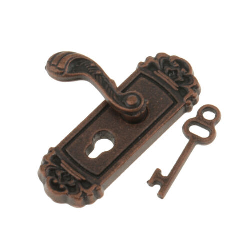 Maßstab 1:12 Türknauf linker Griff Schlüssel Puppenhaus Miniatur DIY