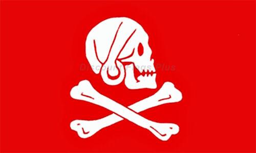 Pirate Henry Avery Skull Earring Red Crossbones 3x5 Polyester Flag