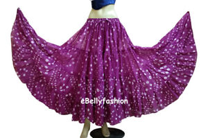 MAROON-Cotton-JAIPUR-25-Yard-4-Tier-Gypsy-Skirt-Belly-Dance-Tie-amp-Dye-Polka-Dot