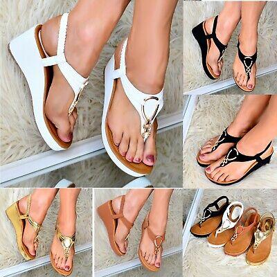 2019 Mode Ladies Womens Low Wedge Heel Sandals T-bar Shoes Comfy Toe Post Slingback Size Weder Zu Hart Noch Zu Weich