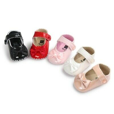 UK Sole Toddler Baby Girl toddler shoes Bow Paint Soft Bottom Princess Shoes