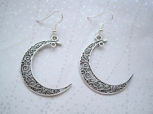 a2ed63c87 FILIGREE CRESCENT MOON SP Drop Earrings Pagan Wicca Tattoo Celestial ...