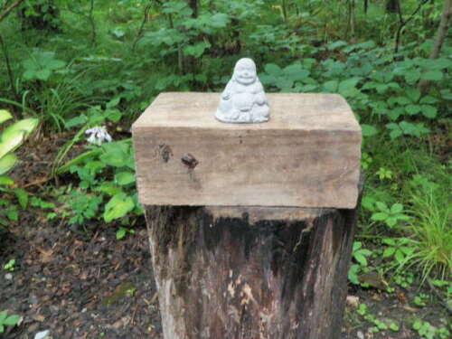 """Small 2 1//2/"""" Cement Buddha Garden Art Concrete Statue Paperweight Pocketsize"""