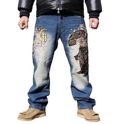 Mens Jeans Japanese Pattern Embroidered Straight Denim Ukiyo-e Tattoo Acalanatha