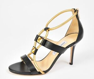 fc609448801 NEW Jimmy Choo Shoes Black Gold Strappy Heels Size 38 8 Sandals ...