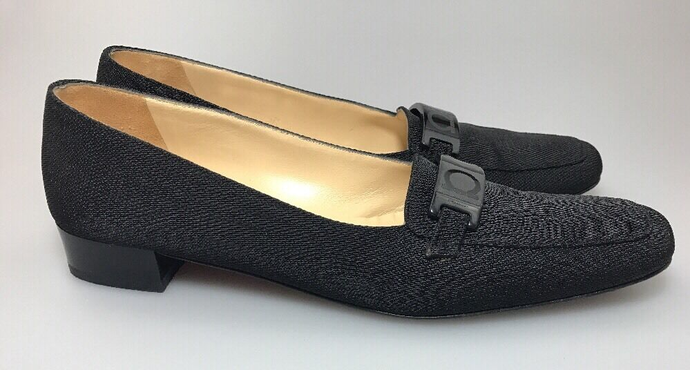 Salvatore Ferragamo Niedrig Heel Slip On Schuhes Fabric Pumps Pumps Pumps Sz 7.5 AAAA Wear To Work d51d26