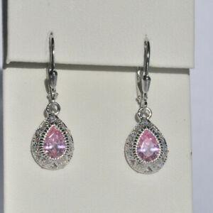 Echt-925-Sterling-Silber-Ohrringe-rosa-Zirkonia-Tropfen-Hochzeit-Nr-416
