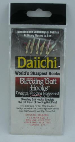 Daiichi D03R-RB6 Red Hook Red Head Rainbow Tail Sabiki Rig Size 6 23432