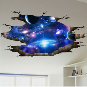 3D Jigsaw Colour Space Stars Planet Wall Sticker Decal Bedroom Graphic WSD184