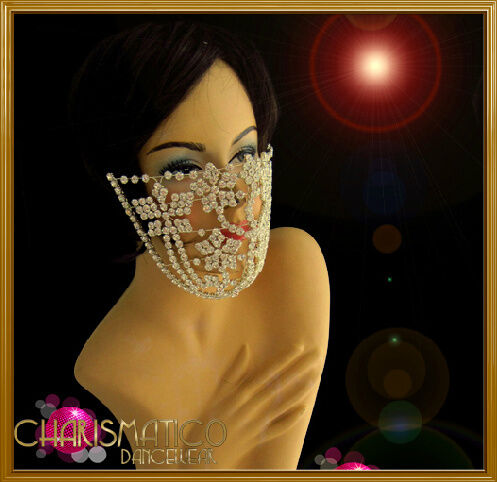 Brilliant Silver Floral Motif Rhinestone Crystal Cluster Cage Mouth Mask
