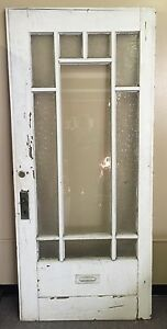 Antique Door With Glass Panes, Some With Designs, Has Mailbox ...