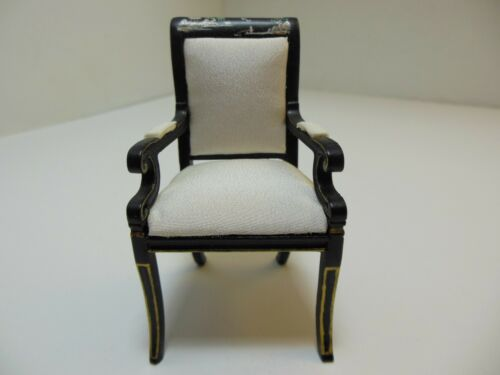 1056bkg Black Dollhouse Miniatures Furniture 1//12 Chinoiserie Style Chair