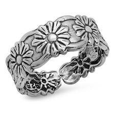 925 Sterling Silver Toe Ring Flowers design Adjustable Size Solid Silver
