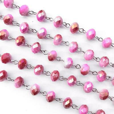 Pink Topaz Copper Crystal Rondelle Beaded Rosary Silver Eyepin Chain 8mm 2ft