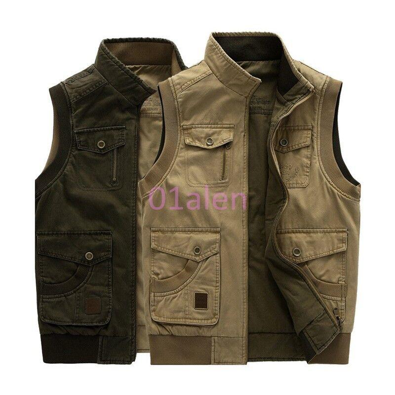 HOT Mens Casual Denim Vest Waistcoat Jean Jacket Sleeveless Shirt Army Khaki NEW