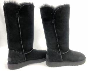 b6527cb7144 Details about UGG Australia Classic Cuff Tall II Black Suede Sheepskin  Boots Womens 1016420