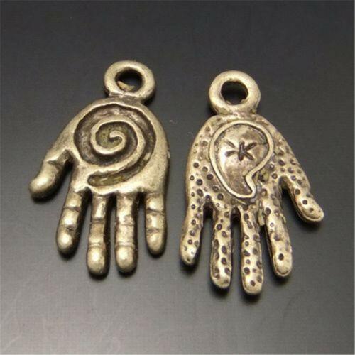 55pcs Rétro Bronze 15x11mm de petites mains Pendentif Charms Bijoux À faire soi-même Accessoires
