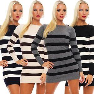 competitive price 2629b 02465 10865 Strick Minikleid Streifen Long Pullover Pulli Kleid ...