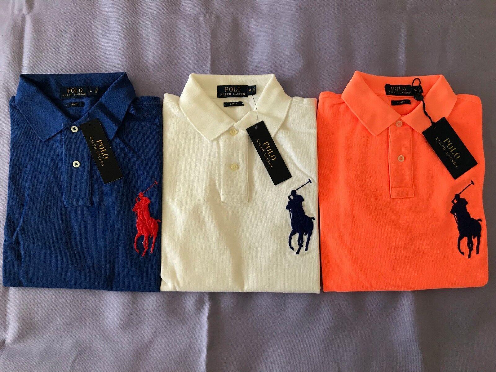 NWT RALPH LAUREN Slim Fit 100% Cotton Polo Shirt S/S  Herren Größes Medium, Large