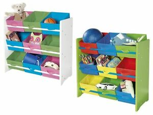 kinderregal spielzeugregal aufbewahrungsbox regal kinderzimmer kommode 9 boxen ebay. Black Bedroom Furniture Sets. Home Design Ideas