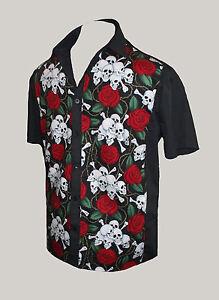 CABALLEROS-Calavera-Rosa-Rockabilly-Tatuaje-50s-Salon-DINER-Camisa-Gotico