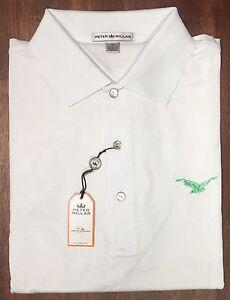 New Peter Millar White Cotton Polo Green Embroidered Mountain Bird