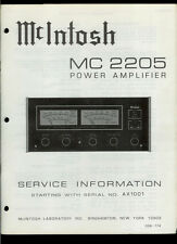 Rare Original Factory McIntosh MC 2205 Stereo Power Amp Amplifier Service Manual