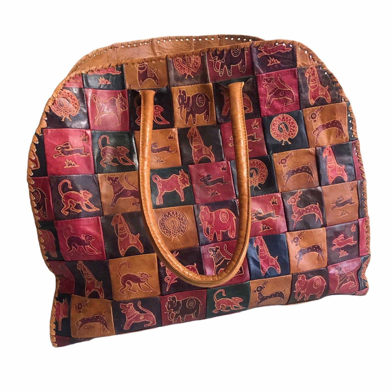 Vtg Leather Patchwork Tote Bag Purse Embossed Animals Jungle Safari