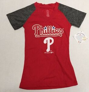 Philadelphia-Phillies-Official-MLB-Genuine-Kids-Youth-Girls-Size-Sheer-Shirt-New