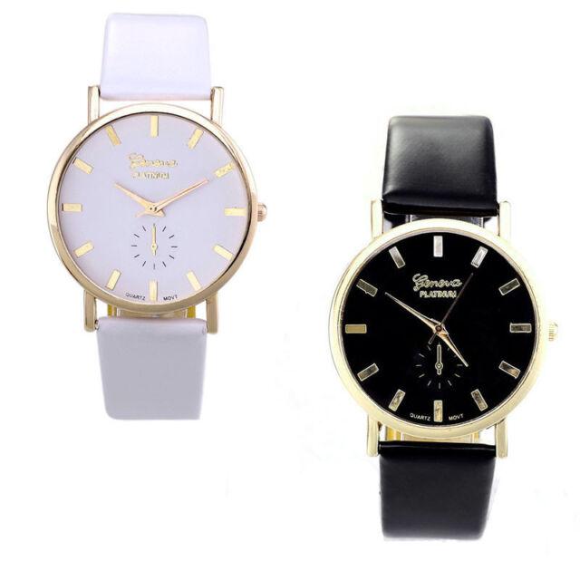 New Womens Lady Fashion Geneva Roman Leather Band Analog Quartz Wrist Watch Tide