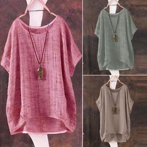 Women-Summer-T-Shirt-Casual-Plain-Loose-Blouse-Shirt-Batwing-Asymmetrical-Tops