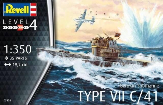 German Submarine Type VII C Revell 1:350 Kit RV05093 Model