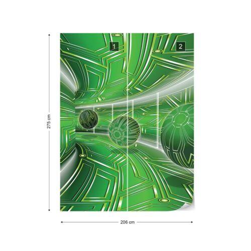 Modern 3D Tech Tunnel Green Photo Wallpaper Wall Mural Fleece Easy-Install Paper