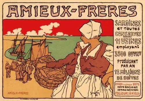 AP138 Vintage French Amieux-Freres Sardine Advertisement Poster Card Print A5