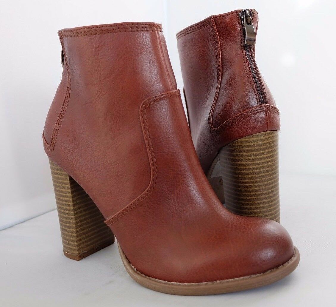 M&S Limited Edition Brown Ankle Boots Block Heel Back Zip with Insolia